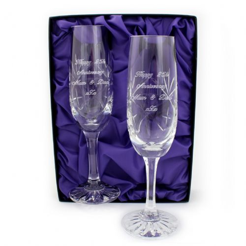 Personalised Pair of Lead Crystal Champagne Glasses
